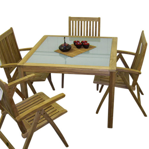 Teak Provence Dining Table 100 with glass inserts