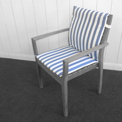 Horizon Seat Cushion with Back in Sky Blue Stripe
